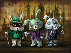 Gotham City Bunnies Art Print 8.5 x 11 Joker by DianaLevinArt, $15.00