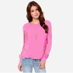 6.96$  Watch more here  - New Fashion Women Blouse Chiffon Hollow Out Solid Crew Neck Long Sleeve Loose Sexy Tops