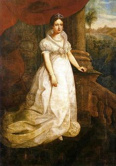 Maria Leopoldina, arquiduquesa da Austria, imperatriz consorte  do Brasil. Retratada por Louis Schlappriz. Seu pai foi Francisco II, ultimo imperador do Sacro Imperio Romano - Germanico. Ela foi casada com Dom Pedro I, Imperador do Brasil.