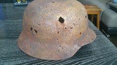 Relic WW2 ORIGINAL German ARMY M35 Stahlhelm Helmet  WWII BATTLE DAMAGED