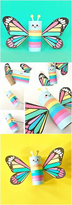 Rainbow Butterfly Paper Tube Kids Craft with Free Printables Print this colorful design for a happy spring project for kids or theres a also a blank color in option to de. Toilet Paper Roll Crafts, Paper Crafts For Kids, Easy Crafts For Kids, Toddler Crafts, Crafts To Do, Diy For Kids, Toilet Roll Craft, Spring Projects, Spring Crafts