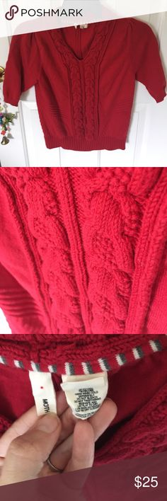 Anthropologie Moth Top. Size medium. Runs small Red shirt sleeve sweater by Moth for Anthropologie. Please note- runs SMALL. GUC to be safe. Anthropologie Tops