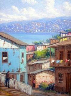 Arte, pintura, oleo, acuarela, escultura Art Oil, Fine Art, Mansions, Street, House Styles, World, City, Painting, Ideas Para