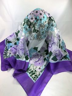 """New Stunning 62/""""x20/"""" Floral Sheer Scarf Shawl Wrap White with Multi Butterflies"""