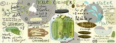 Polish Pickled Cucumbers by Ewa Parówka Fresh Spring Rolls, Cucumber Water, Pickling Cucumbers, Food Quotes, Fermented Foods, Kitchen Art, Food Illustrations, Creative Food, Food Design