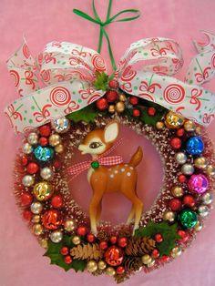Christmas Wreath...Bambi Style Reindeer..Handmade and ooak