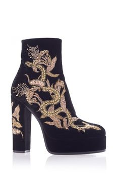 Embroidered Scarpa Ankle Boot by ROBERTO CAVALLI for Preorder on Moda Operandi