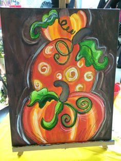 Pumpkins canvas painting