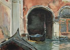 """John Singer Sargent (1856-1925) In Venice (1902-1904) watercolor and pencil on paper laid down on board 25.4 x 35.6 cm """