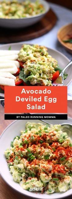 Avocado Deviled Egg Salad Egg salad is one of those love-it-or-hate-it meals, but if you're a fan, you need to try this tricked-out Whole30 version. It's made with bacon, avocado, and chives, and topped with a heavy shake of paprika. Try it in lettuce wraps, served with veggies, or on its own.