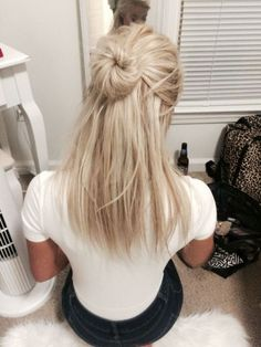 half up half down | bun | messy | with hair extensions | platinum blonde | shoulder length |