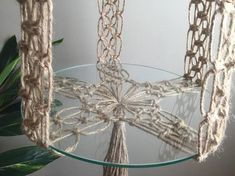 00 VENUS Macramé Table//Boho Hippe Retro Collection Line Jute Huge Pots Plants Xtra Large Long Jute Bohemian Mid Century Modern Decor Etsy :: Your place to buy and sell all things handmade Macrame Design, Macrame Art, Macrame Projects, Macrame Knots, Jute, Boho Hippie, Diy Tumblr, Hanging Table, Hanging Plants