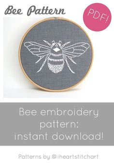 PDF embroidery pattern bumblebee download hand by iHeartStitchArt More