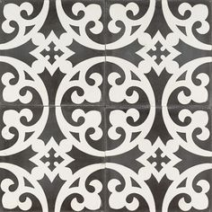 Black Mustard Flower Reproduction Tile by Jatana Interiors. A midnight black tile with a white decorative pattern that swirls and circles the tile. Black Mustard Clover for any interior. Flower Reproduction, Mustard Flowers, Old Apartments, Black And White Tiles, Encaustic Tile, Tiles Texture, Tile Patterns, Tile Design, Mosaic Tiles