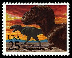 """Who can resist a dinosaur whose name means """"tyrant lizard""""?!  The T. Rex is a perennial favorite.    Copyright United States Postal Service. All rights reserved."""