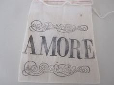 Hand Stamped Muslin Gift Bags  Amore by frenchcountry1908 on Etsy, $1.50