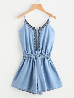 SheIn offers Embroidered Denim Cami Romper & more to fit your fashionable needs. Cute Summer Outfits, Outfits For Teens, Trendy Outfits, Cool Outfits, Girls Fashion Clothes, Girl Fashion, Fashion Outfits, Jw Mode, Autumn Fashion Grunge