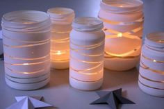 DIY: Striped lanterns for winter decorations Frey Creative - DIY: Striped lanterns for winter decorations Frey Creative - Diy For Kids, Crafts For Kids, Origami, Creative Gifts, Glass Art, Diy And Crafts, Candle Holders, Christmas Gifts, Candles