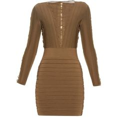 Balmain Lace-up bandage mini dress (92,125 INR) ❤ liked on Polyvore featuring dresses, laced up dress, bandage dress, short dresses, sexy dresses and balmain dress