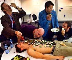 via Misha Collins -- Snack time for the cast of #Supernatural  (Matt aka Young John Winchester, Richard aka Gabriel, Misha aka Castiel, Mark aka Crowley, Mitch aka Samuel)