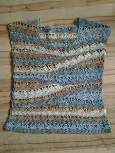 Ravelry: PCRider's Summer tee link to pattern  #21 Ballet-Neck Tee by Linda Skuja; Vogue Knitting Crochet 2014 Special Collector's Issue