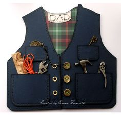 Waistcoat shaped Male fathers day, birthday card, tim holtz ideology, tartan, metal work, keys, buttons. For Dad