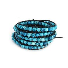 Chen Rai Fiery Blue Colored Bead Long Wrap Bracelet on Black Cord * Details can be found by clicking on the image.