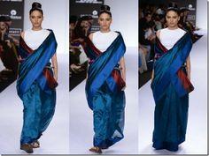 Payal_Khandwala_Blue_Saree. love the flow and colour.