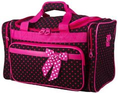 Luggage & Travel Gear, Travel Duffles,Ever Moda Polka Dots Large Duffle Bag (Black Pink) - Duffles Carry On Luggage, Travel Luggage, Travel Bag, Cheap Luggage, Ballet Bag, Green Chevron, Garment Bags, Diaper Bag, Gym Bag
