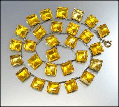 Art Deco Necklace Citrine Crystal Silver Rhodium Glass by boylerpf, $90.00