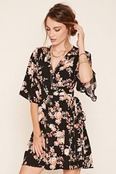Forever 21 Contemporary - A woven wrap dress featuring a floral print, surplice neckline, self-tie belt at the waist, and short bell sleeves.