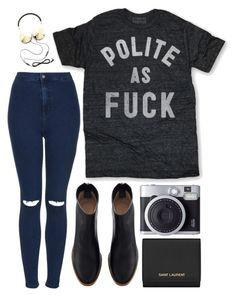 """""""Untitled #99"""" by tamara-xox ❤ liked on Polyvore featuring Topshop, Frends, Yves Saint Laurent, casual, Dark, booties, topshop and saintlaurent"""