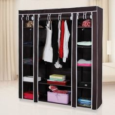 Portable Clothes Rack Closet Wardrobe Clothes Storage Organizer w/ Shelves