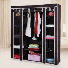 Portable Clothes Rack Closet Wardrobe Clothes Storage Organizer w/ Shelves Portable Wardrobe Closet, Diy Wardrobe, Wardrobe Storage, Closet Storage, Closet Organization, Wardrobe Rack, Organizing, Wardrobe Design, Wardrobe Cabinets