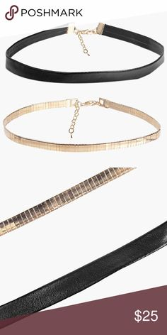 """2-Pack Gold and Leather Choker Man made materials. Comes with gold choker and faux leather choker. 17"""" total length with extender. Silver also available in other listing! Wear together or separately! Jewelry Necklaces"""