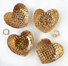 Hammered 22k Gold Heart Ring Dish