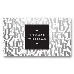 Silver Lettering business card for author, writer, or blogger