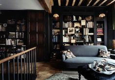 A Gallery of Cozy Cottage Interiors, rustic stuff, furniture,cottages, home living stuff Urban Rustic, Dark Interiors, Cottage Interiors, Rustic Interiors, Dark Living Rooms, Living Spaces, Modern Living, Cozy Library, Library Shelves