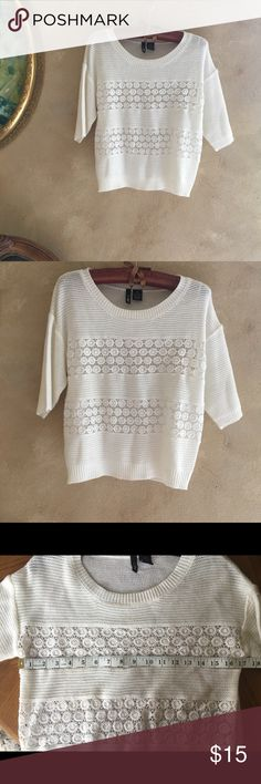 NWOT white knitted sweater Super cute and adorable  Never worn Please see the pictures Ultra Flirt Sweaters