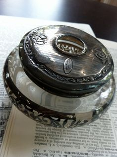 glass and sterling hair receiver  monogrammed R