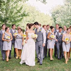 Gray and yellow w/ jackets but I like the differing shades of grey for groomsmen and bridesmaids
