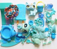 Littlest Pet Shop LOT BLUE AQUA Cat Bug Shoe Skate Hat Food Toy Dish ACCESSORIES #Hasbro