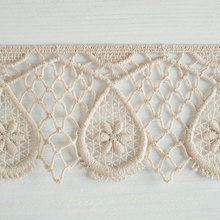 #Organic #lace #trim 70 mm wide natural ecru cotton colour undyed, large teardrop lattice www.lancasterandcornish.com #bridal #wedding #trim #lampshade #dressmaking #sewing #millinery #lingerie