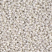 M-11-961F - 11/0 Matte Bright Sterling Plated (Like DB 551F)  Miyuki Seed Bead | 50 Grams