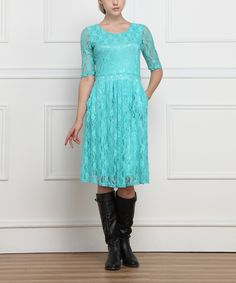 Look at this #zulilyfind! Reborn Collection Ocean Lace Three-Quarter Sleeve Dress - Women by Reborn Collection #zulilyfinds