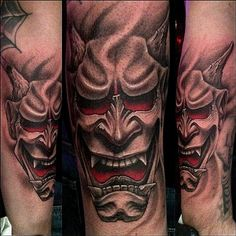 Hannya Mask Tattoo Designs And Meanings-Hannya Tattoo Ideas And Pictures Japanese Hannya Mask, Japanese Mask Tattoo, Tattoo Designs And Meanings, Tattoos With Meaning, Sleeve Tattoos For Women, Tattoos For Guys, Theater Mask Tattoo, Theater Masks, Hannya Maske Tattoo