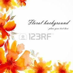 Flores vermelhas das papoilas da aguarela cart�o floral bouquet floral Vector fundo floral cart�o de anivers�rio do convite photo