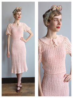 1930s Dress // Peachy Pink Crochet Dress // vintage 30s crochet dress by dethrosevintage on Etsy https://www.etsy.com/listing/230644777/1930s-dress-peachy-pink-crochet-dress