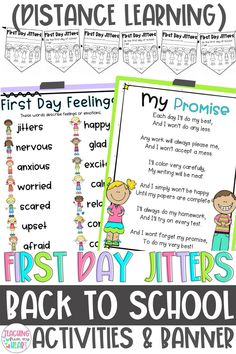 First Day Jitters activities? Check! Adorable Back to School Banner for your bulletin board? Check! These differentiated, low-prep activities are perfect writing activities for #BacktoSchool for first, second, third, and fourth grade. #DistanceLearning #FirstDayJitters #BacktoSchoolActivities #BulletinBoardIdeas Back To School Night, New School Year, Going Back To School, First Day Of School, Back To School Activities, School Resources, Writing Activities, Teaching Resources, First Grade Jitters
