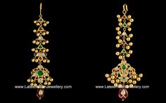 Designer maang tikka designs to adorn your forehead.  antique gold maang tikka or papita billa or nethi chutti with colourful kundans decorated with gold balls or muvvalu